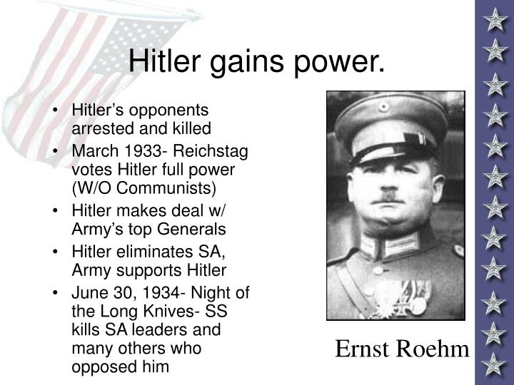 Hitler gains power.