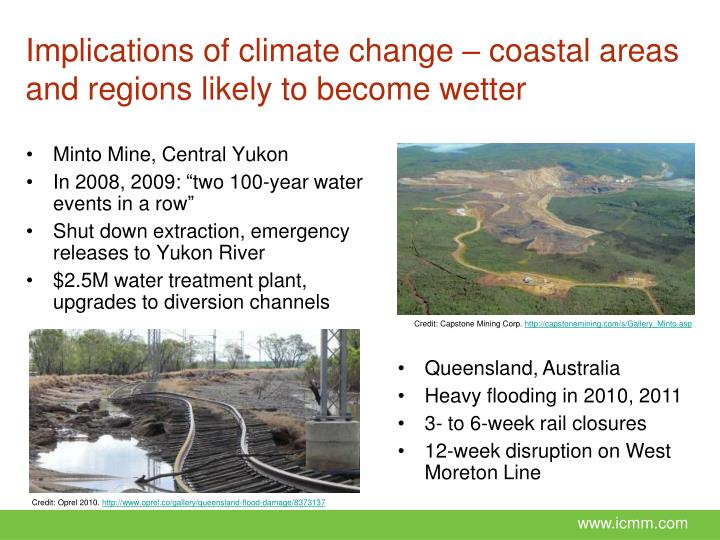 Implications of climate change – coastal areas and regions likely to become wetter