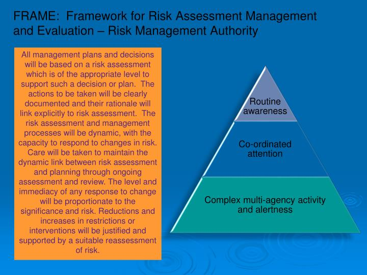 FRAME:  Framework for Risk Assessment Management and Evaluation – Risk Management Authority