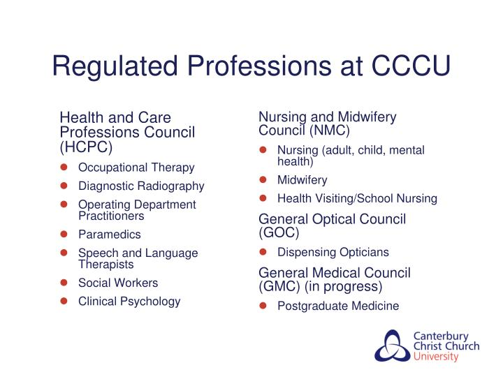 Regulated Professions at CCCU