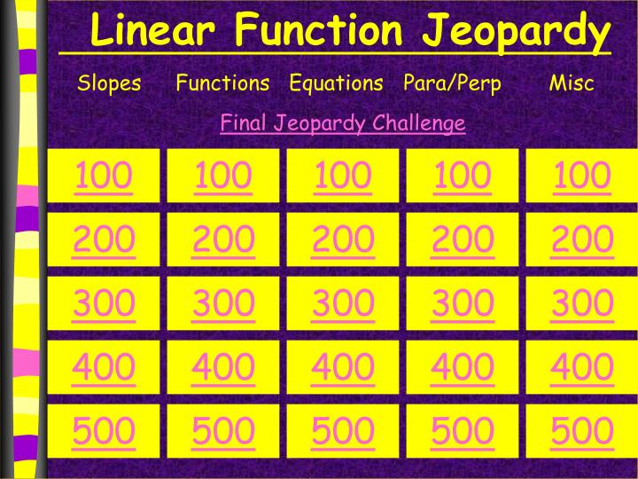 Linear function jeopardy