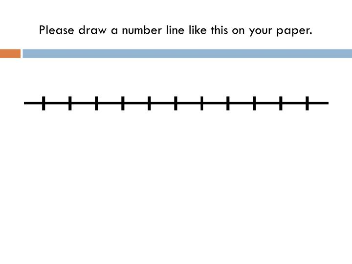 Please draw a number line like this on your paper.