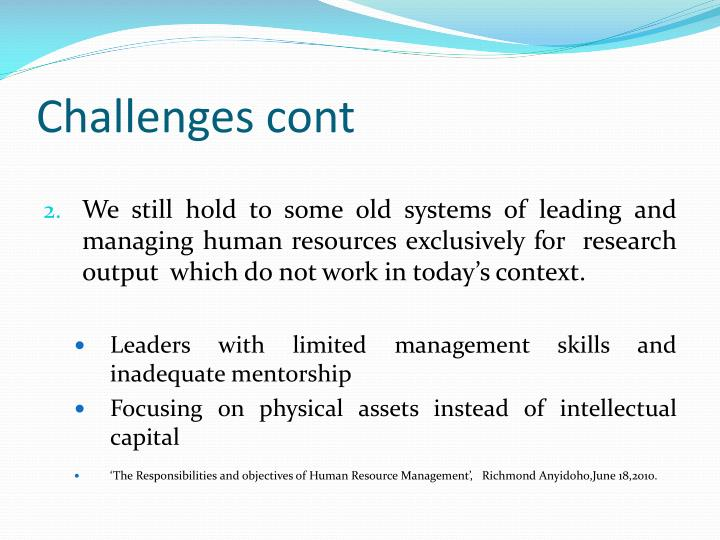 Challenges cont