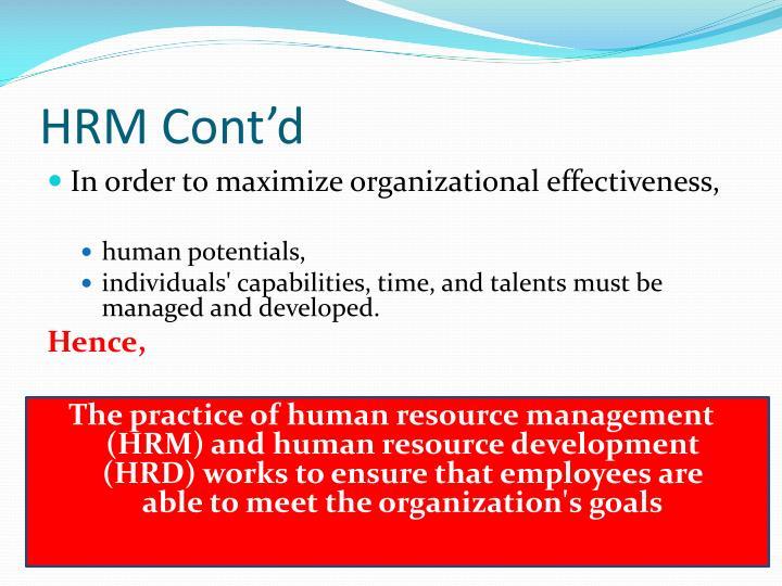 HRM Cont'd