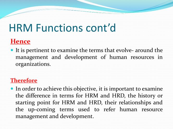 HRM Functions cont'd