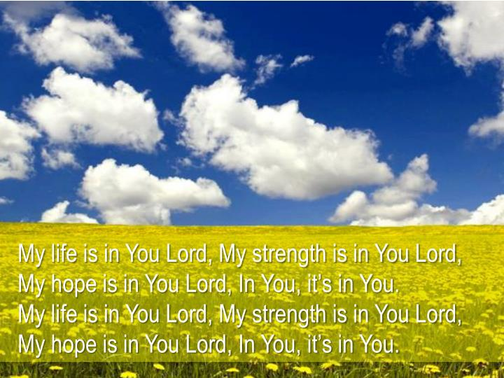 My life is in You Lord, My strength is in You Lord,