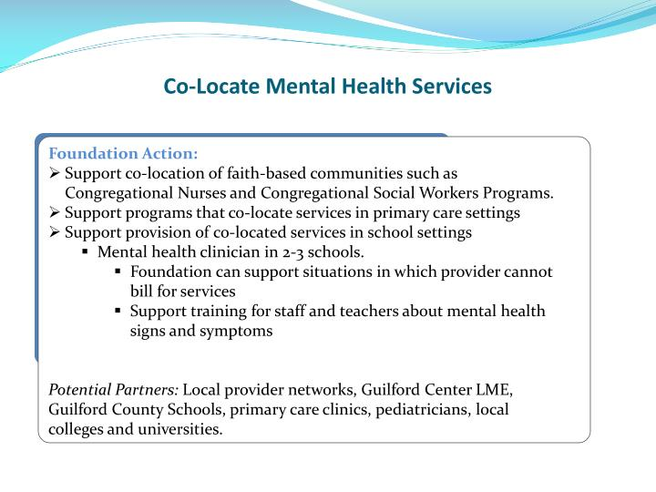 Co-Locate Mental Health Services