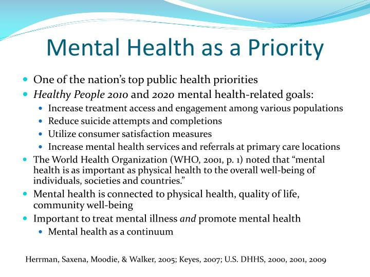 Mental health as a priority