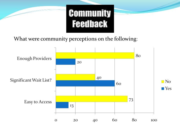 What were community perceptions on the following