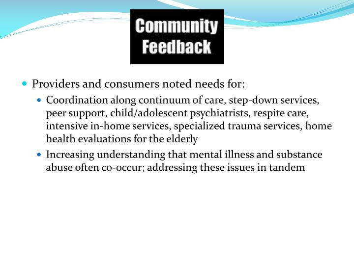 Providers and consumers noted needs for: