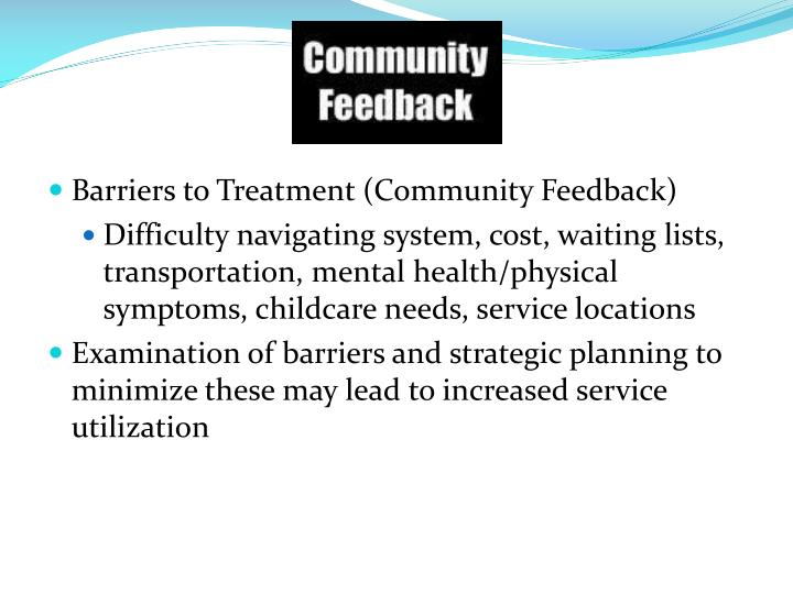 Barriers to Treatment (Community Feedback)
