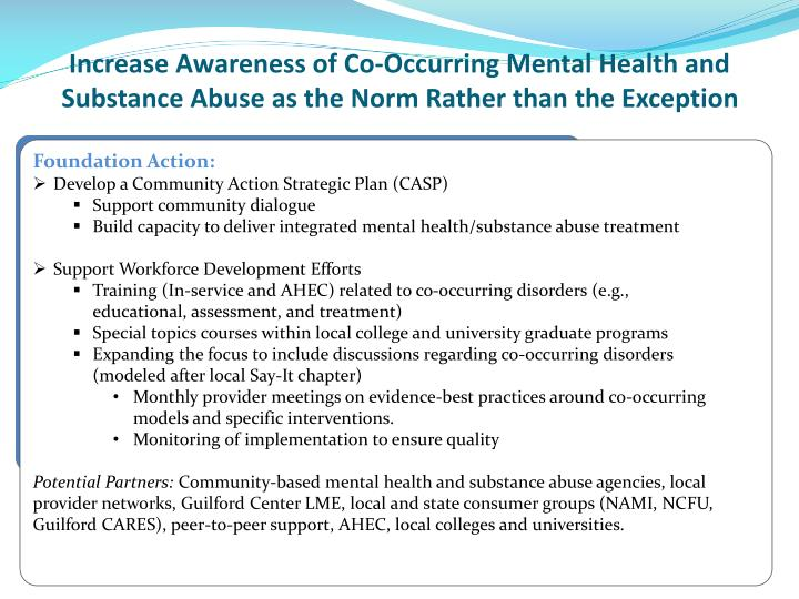 Increase Awareness of Co-Occurring Mental Health and Substance Abuse as the Norm Rather than the Exception
