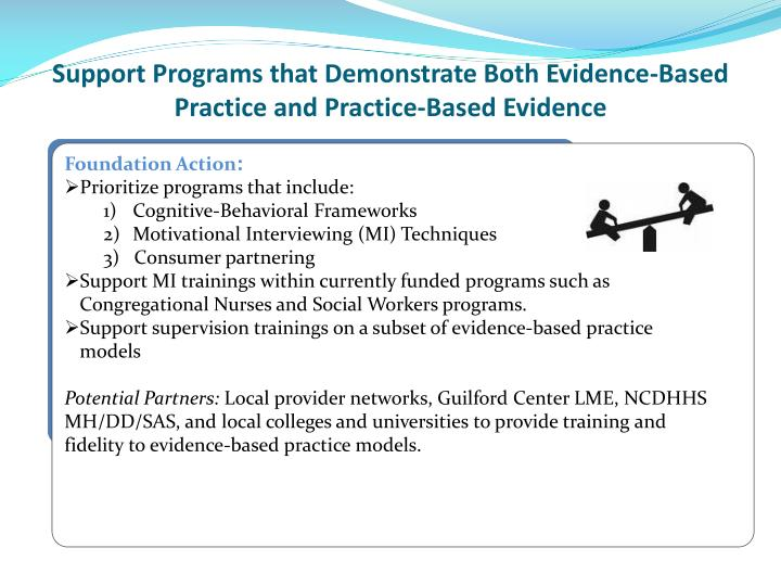 Support Programs that Demonstrate Both Evidence-Based Practice and Practice-Based Evidence