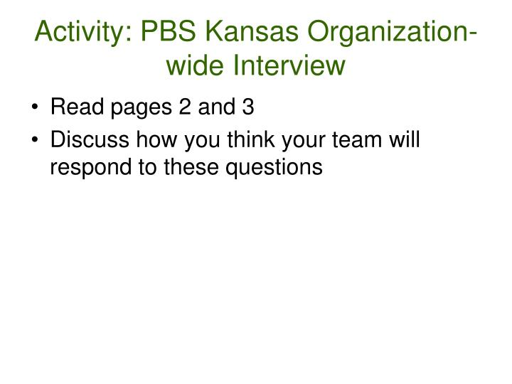 Activity: PBS Kansas Organization-wide Interview
