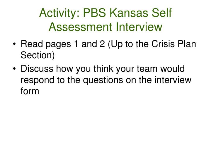 Activity: PBS Kansas Self Assessment Interview
