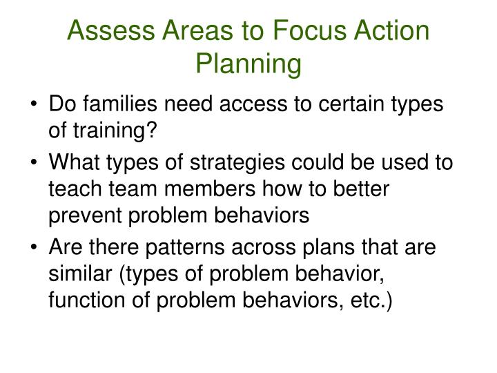 Assess Areas to Focus Action Planning