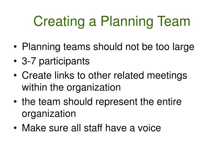 Creating a Planning Team