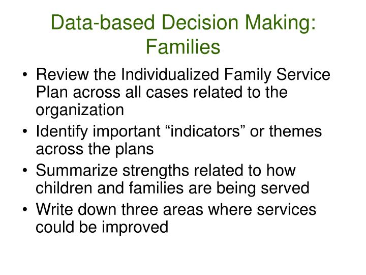 Data-based Decision Making: Families