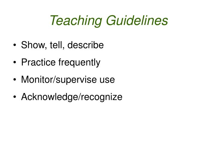 Teaching Guidelines