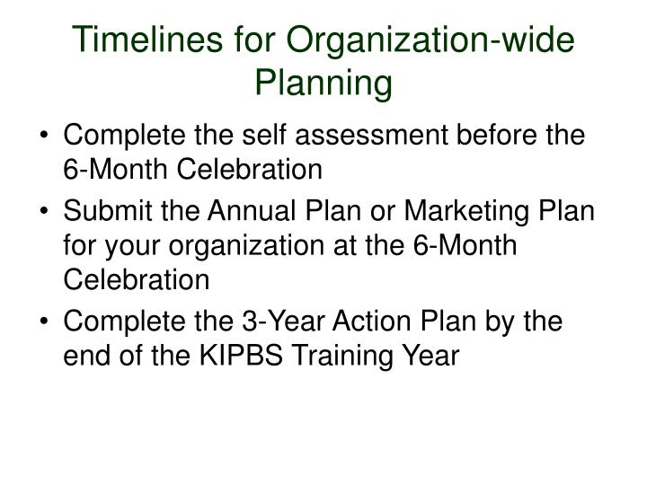Timelines for Organization-wide Planning