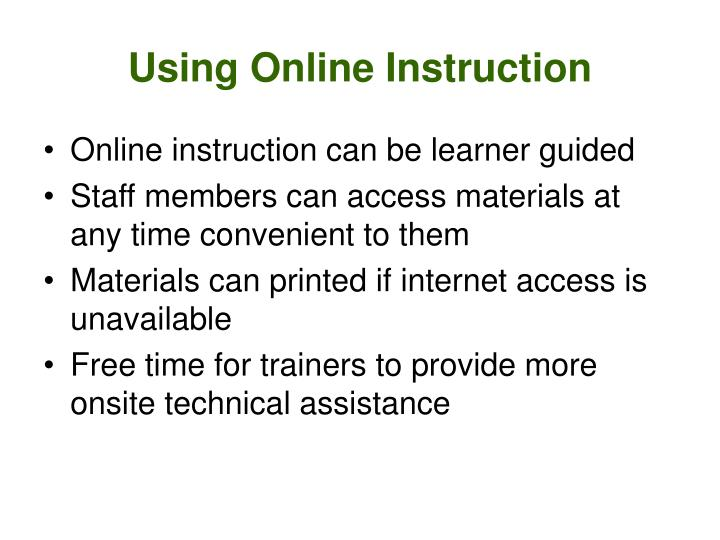 Using Online Instruction