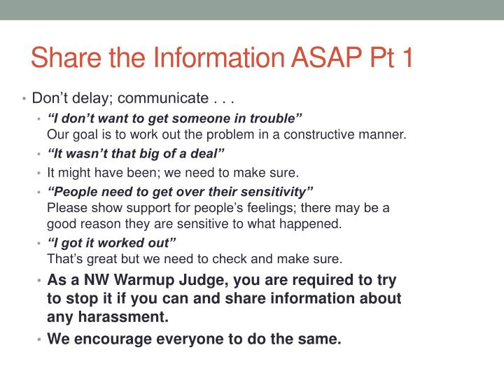 Share the Information ASAP Pt 1