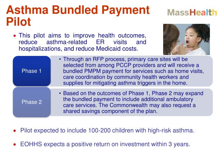 Through an RFP process, primary care sites will be selected from among PCCP providers and will receive a bundled PMPM payment for services such as home visits, care coordination by community health workers and supplies for mitigating asthma triggers in the home.