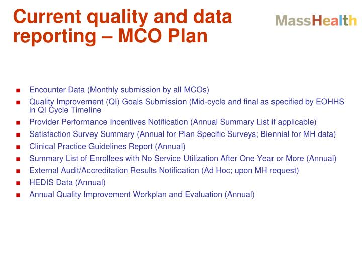 Current quality and data reporting – MCO Plan