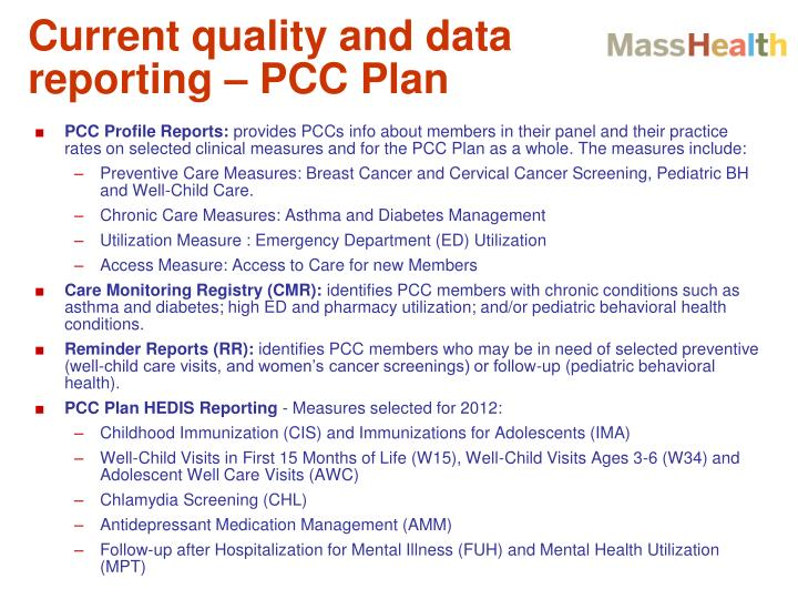 Current quality and data reporting – PCC Plan
