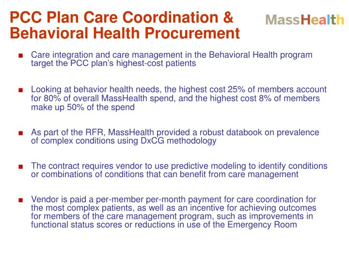 PCC Plan Care Coordination & Behavioral Health Procurement
