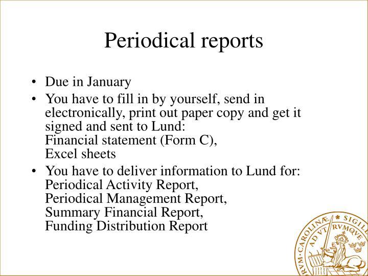 Periodical reports
