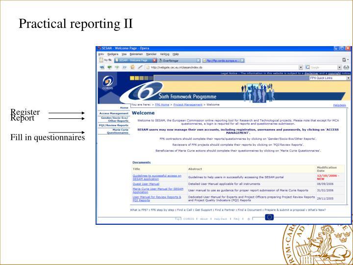 Practical reporting II