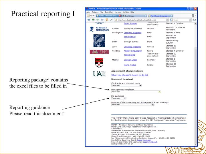Practical reporting I