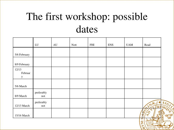 The first workshop: possible dates