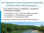 it s important to have long term monitoring at sites to know what s going on