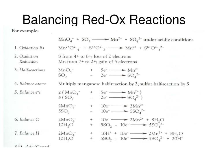 Balancing red ox reactions1