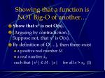 showing that a function is not big o of another