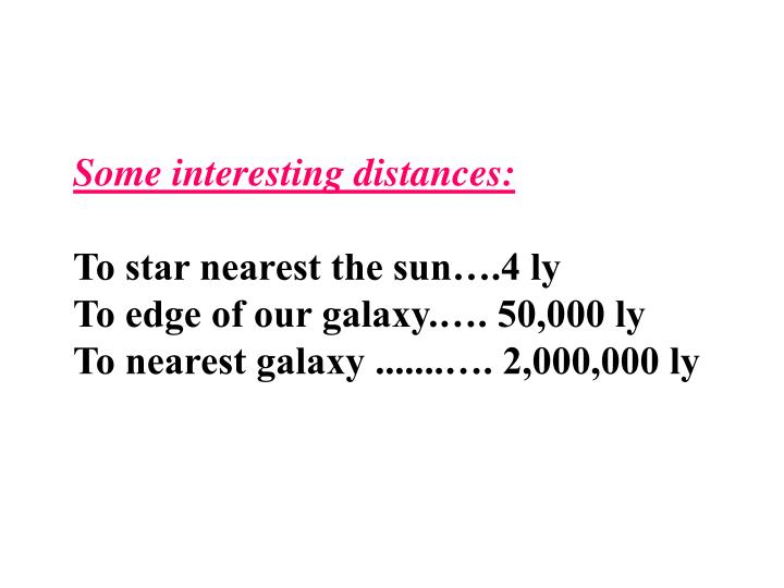 Some interesting distances: