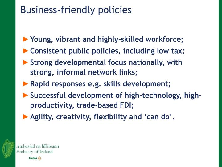 Business-friendly policies
