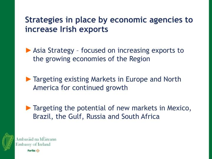 Strategies in place by economic agencies to