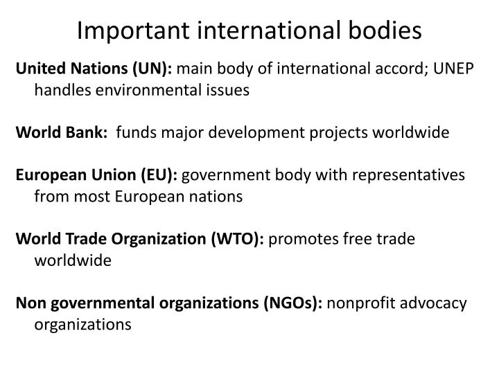 Important international bodies