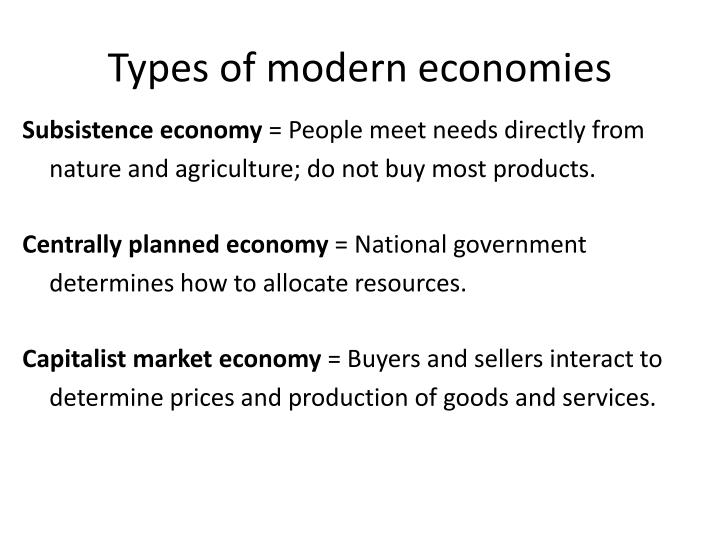 Types of modern economies