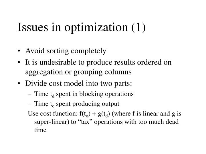 Issues in optimization (1)