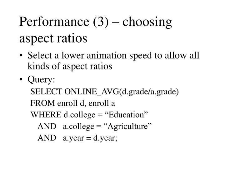 Performance (3) – choosing aspect ratios