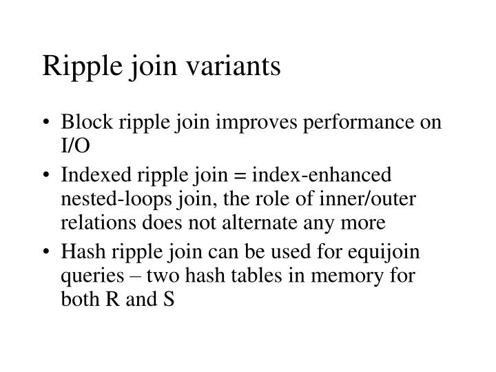 Ripple join variants
