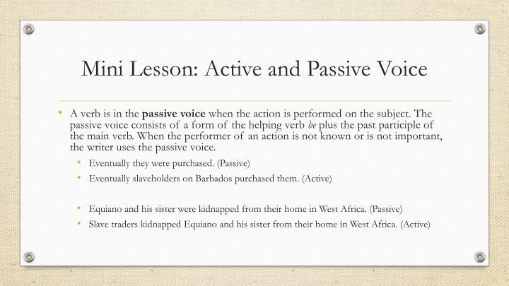 Mini Lesson: Active and Passive Voice