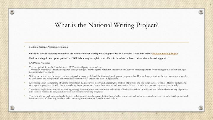 What is the National Writing Project?