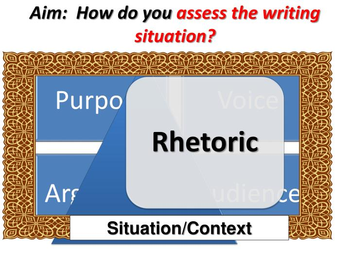 Aim how do you assess the writing situation