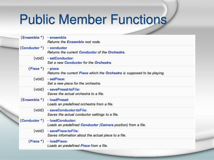 Public member functions