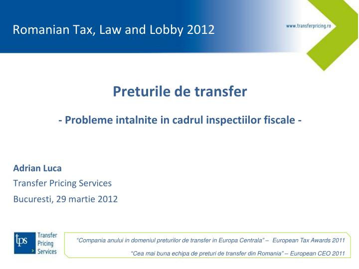 Romanian Tax, Law and Lobby 2012